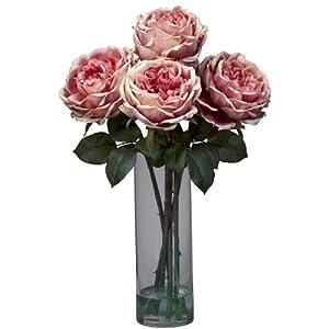 Nearly Natural 1247-PK Fancy Rose with Cylinder Vase Silk Flower Arrangement, Pink 60