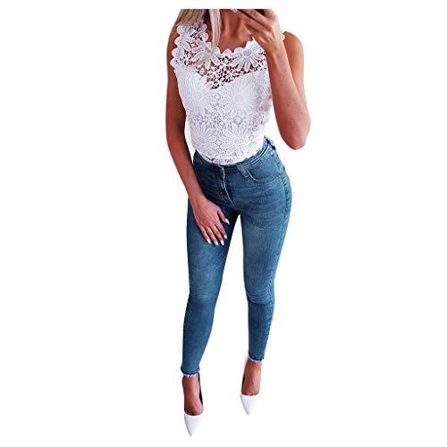WDSTA Women High Waist Stretch Print Jeans Leggings Skinny Slim Fitness Pants Trousers (Blue,S)