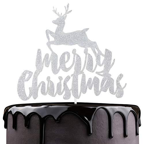 Merry Christmas Cake Topper - Silver Glitter Reindeer Winter Festival Cake Décor - Joyeux Noel - Happy Hanukkah - Christmas Holidays Feast Party Decoration