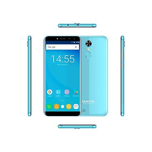 OUKITEL C8 - 5,5 3G Smartphone Libres, Pantalla de Arco 2.5D, Android 7.0 Quad Core 2GB+16GB, Sensor de Huella Dactilar, Cámara 13MP+5MP, Doble SIM Teléfono Móvil Azul