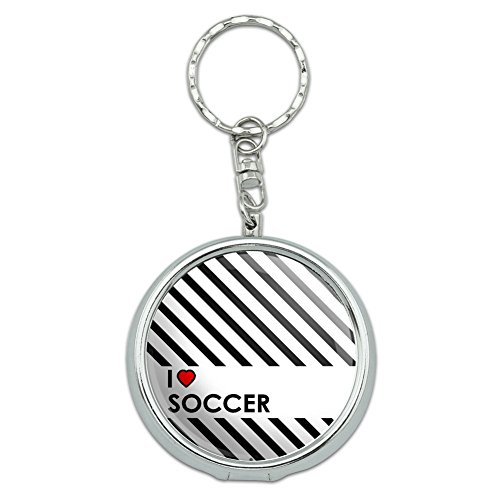 rtable Travel Size Pocket Purse Ashtray Keychain I Love Heart N-W - Soccer ()