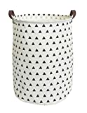 ESSME Large Laundry Hamper Waterproof Coating Canvas Fabric Storage Basket-Toy Organizer, Baby Nursery Hamper19.7×15.7'' (Triangle)