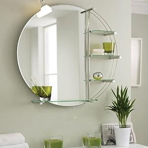 Stylish Illuminated Round Bathroom Mirror With Glass Storage Shelves 800 X 800mm