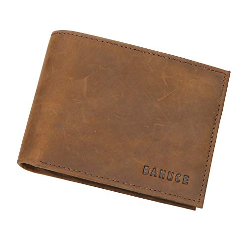 Detachable Id Window - Banuce Full Grains Crazy Horse Cowhides Leather Bifold Wallet for Men Extra Large Capacity Money Purse Detachable ID Window Card Holder