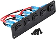 Acouto 5 Gang Rocker Switch Panel 12-24V Blue LED 5 Gang Round Dash Rocker Toggle Switch Panel for Boat Yacht