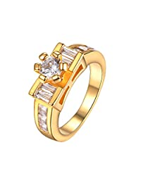 18K Gold Plated 6 Prong Setting CZ Wedding Engagement Band Ring For Women Size 6-10