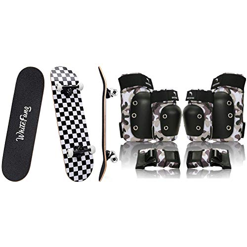 """WhiteFang Complete Skateboards 31"""" x 7.88"""" with 6 in 1 Protective Gear Set"""