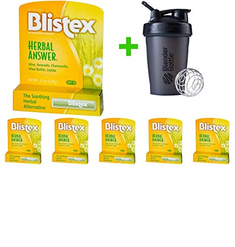 Blistex, Herbal Answer, Lip Protectant/Sunscreen, SPF 15, 0.15 oz (4.25 g)(6 Packs)+Sundesa, Blender Bottle, Classic with Loop, 20 oz ()