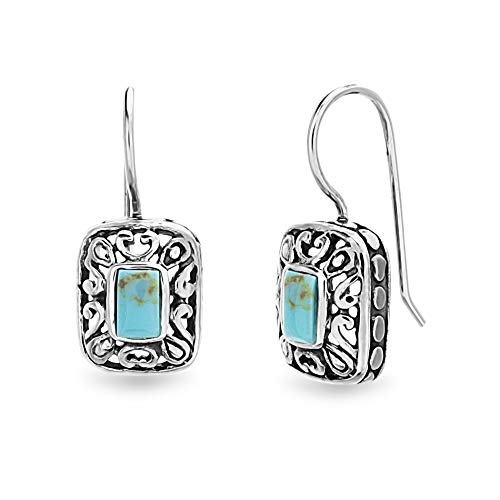 (WILLOWBIRD Sterling Silver Turquoise Earrings Filigree French Wire Dangle for Women )