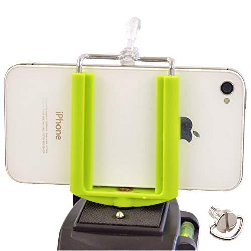 DaVoice Cell Phone Tripod Adapter Mount Holder Clamp Compatible with iPhone X XS Max XR Se 8 7 6 6s Plus Samsung Galaxy S9 S8 S7 Edge Adjustable Smartphone Bracket Clip Cellphone Attachment (Green)