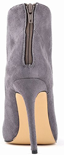 Abby 769-1 Womens Ankle Boots Zip Stiletto Heeled Pointed Toe PU Autumn Winter Wedding Job Party Prom Shoes Grey 27VTsiMa