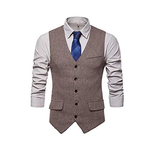 Maniche V Scollo Vintage Waistcoat Fit Camicia Smoking Khaki Senza niente Bmeig Tweed Marriage Gilet Uomo Business Slim Elegante Panciotto Leisure qnC7PfX