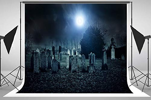 7x5ft Scary CEMETARY Cemetery Night Scene Backgrounds Computer Print Halloween Party backdrops -