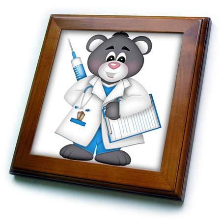 3dRose Anne Marie Baugh - Illustrations - Cute Blue, Gray, and White, Bear Doctor Illustration - 8x8 Framed Tile (ft_317933_1)