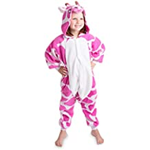 Emolly Kids Pink Giraffe Onesie Animal Pajama Costume Soft and Comfortable With Pockets!