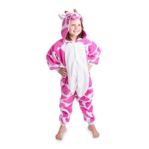 Emolly Kids Giraffe Onesie Pajamas Costume (8, Pink)