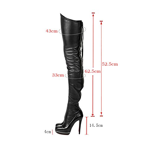 Shoes High Sky Over The Party Boots For Girls Club Heels Platfrom Knee Black Women's ITBqZZ