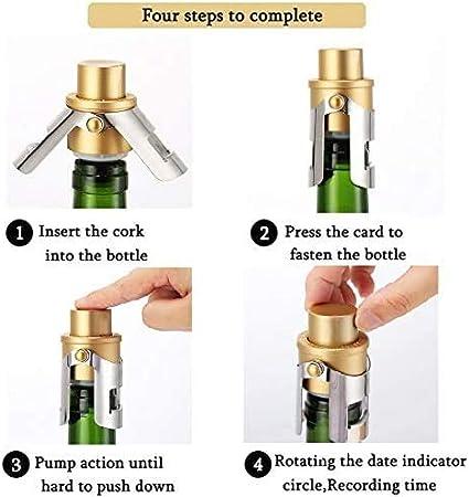 LINGLAN Tapón para Botella Champagne con bomba de presión integrada para mantener las burbujas de tu Fizz, color dorado y plateado, juego de 2 unidades