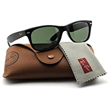Ray Ban Wayfarer Sunglasses RB2132 622 Black Rubber/Crystal Green Lens 55mm Authentic