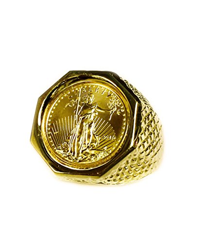 22K Fine Gold Genuine 1/10 Oz American Eagle Coin in 14k Solid Yellow gold Mens Ring ()