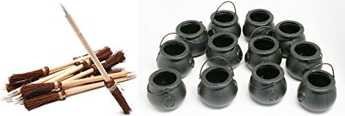 Fun Express 12 mini cauldrons + 12 broom pens Harry Potter party or Halloween Party set!