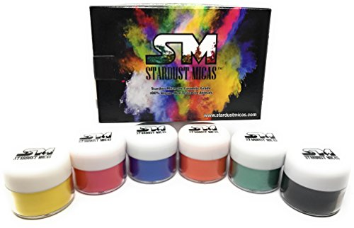 Stardust Micas Pigment Powder 6-Pack Cosmetic Grade Colorant for Makeup, Soap Making, Bath Bombs, DIY Crafting Projects, Bright True Colors Stable Mica Batch Consistency Tested Color Base Set #1