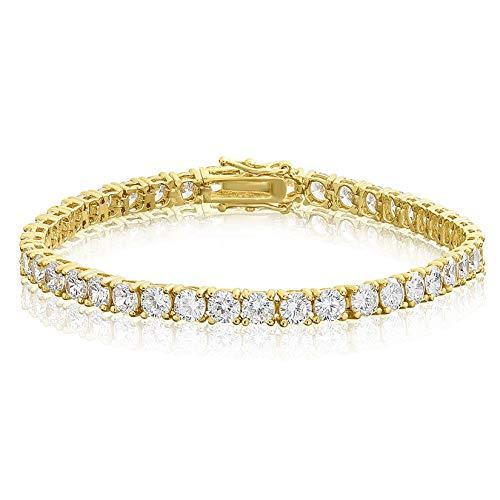 KEZEF Creations Cubic Zirconia Tennis Bracelet Round Cut 4mm 14K Gold Plated Brass 6.5 inch Hypoallergenic for Women
