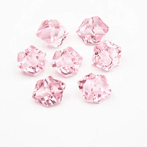 Briliant Shop 14x11 mm Acrylic Color Faux Ice Rock Crystals Treasure Gems for Table Scatters, Vase Fillers, Fish Tank, Party Decoration, Arts & Crafts (Pink)