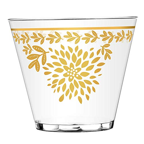 100 Gold Plastic Cups, 9 Oz Disposable Clear Plastic Cups, Fancy Party Cups with Gold Rim, Classic Elegant Leaf Flower Design. -
