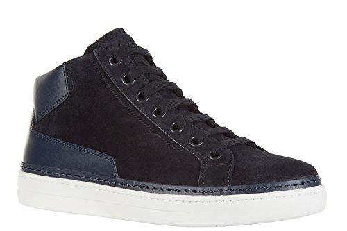 Prada Daim Hautes Chaussures En Sneakers Blu Homme Baskets rxYrwqBpHa