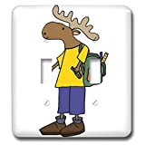 3dRose All Smiles Art - Animals - Cute Funny Unique Moose with backpack Back to School - Light Switch Covers - double toggle switch (lsp_291164_2)