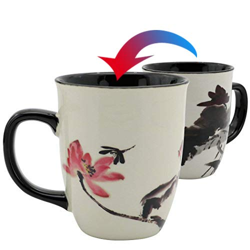 Asmwo Funny Ceramic Magic Heat Color Changing Art Coffee Tea Mug Lotus Printing Porcelain Mugs for Women Personalized White Green Tea Cup 16 oz Large Coffee Mug for Mom Girl - Mug Flower Girl