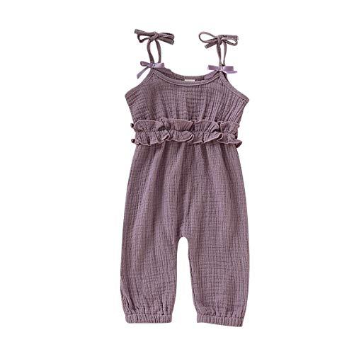 (Newborn Baby Girls Flower Animal Print Romper Bodysuit Outfits Spring Summer Tops (Purple, 6-12 Months(80)))