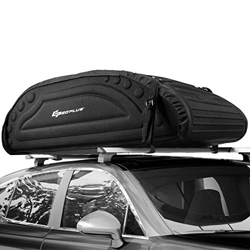 Photo Goplus Car Roof Bag, 15 Cubic Feet Roof Top Cargo Carrier, Weather Resistant Soft-Shell Carrier, Water Proof Cargo Bag w/Heavy Duty Straps, Universal Luggage Carrier for Jeep, Car, SUV (Black)