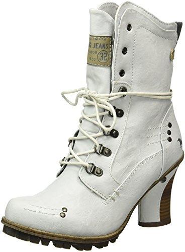 Mustang Damen 1141-609-100 Kurzschaft Stiefel Weiß (100 off-white)