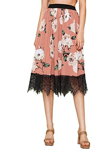 WDIRARA Women's Elegant Floral Print Lace Hem A Line Pleated Skirts Pink S - Floral Lace Print Skirt