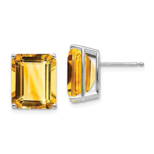 14k White Gold Emerald Cut Citrine Stud Earrings