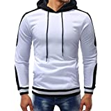 PASATO Clearance Men's Autumn Winter Casual Sports Muscle Long Sleeve Hoodie Top Blouse Clothes Pure Color Polo(White, XL)