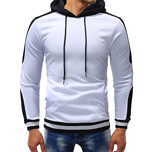 PASATO Clearance Men's Autumn Winter Casual Sports Muscle Long Sleeve Hoodie Top Blouse Clothes Pure Color Polo(White, XL) by PASATO