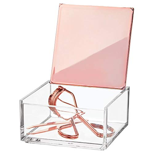 mDesign Mini Makeup Organizer Box with Decorative Lid for Bathroom Vanity Countertops, Cabinet - Store Eye Shadow Palettes, Lipstick, Lip Gloss, Blush, Concealer, Jewelry - Plastic, Clear/Rose Gold ()