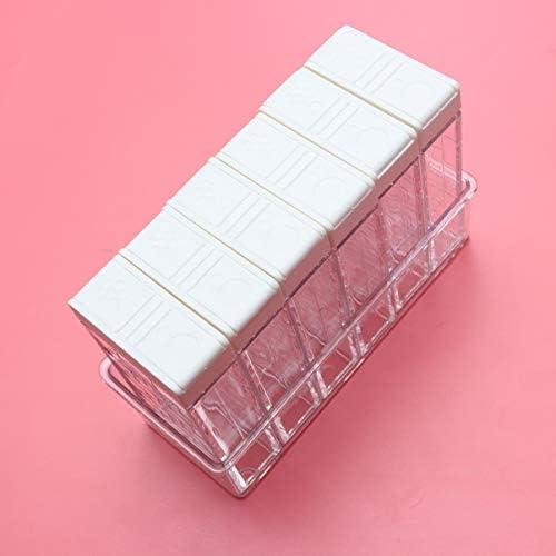 UPKOCH 調味料箱透明二重コンセント蓋6ケースキッチンレストランホーム用