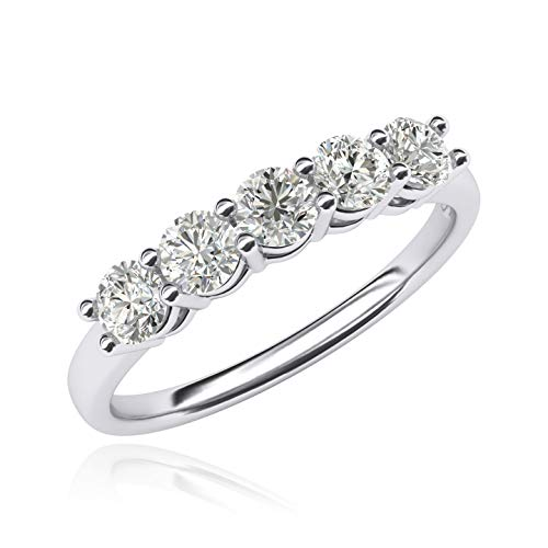 - 14k White Gold Eternal Five Stones Anniversary Ring Simulated Brilliant Diamonds Eternity ring 1.25ctw for Women (9.5)