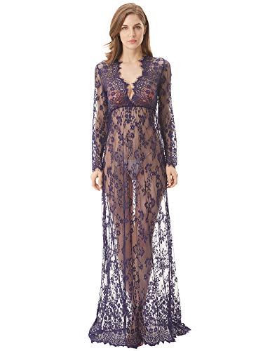 cunlin Cover Up for Women Sexy See Through Lace Gown Maxi Maternity Dress Photography Props Dark Blue L