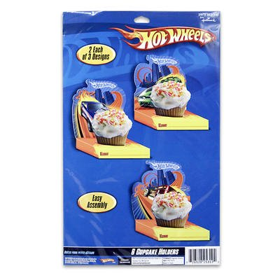 6pc Assorted Size Hot Wheels Paper Cupcake (Hot Wheel Cake)