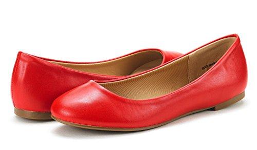 Droompaar Dameszool Eenvoudige Ballerina Walking Flats Schoenen Rood Pu