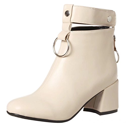 Zip Strap Ankle AIYOUMEI Buckle Mid Boots Heel Block With Heel Beige Shoes Punk Womens 0vqAw0Y