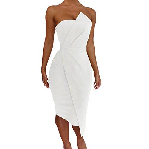 Cinnamou Vestido Sin Tirantes,Trajes de Baño Vestido Bodycon De Sin Hombro Verano de Playa Pareos para Mujer Playa Fiesta Casual Cóctel Boho Chic Blanco
