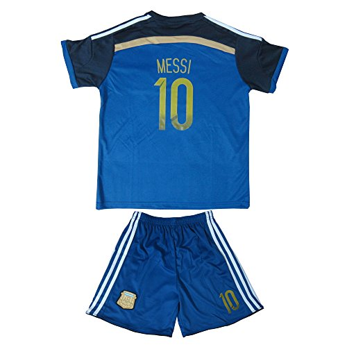 FWC 2014 Lionel Messi 10 Argentina Away Futbol Football Soccer Jersey & Short (4-5 YEARS)