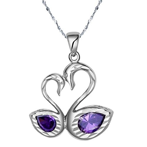 Embolden Jewelry Premium Silver Purple Lab-Created Amethyst [Sterling Collection] Double Swan Heart Love Pendant (Sterling Silver Open Double Flower)