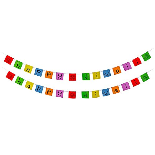 Diwali Decorations - Happy Diwali Banner - 2 Pack - Rangoli Design - Multicolor - Festive Decor for Festival of Lights - For Home, School, Or Office - Celebrate Hindu Tradition with Family and Friends